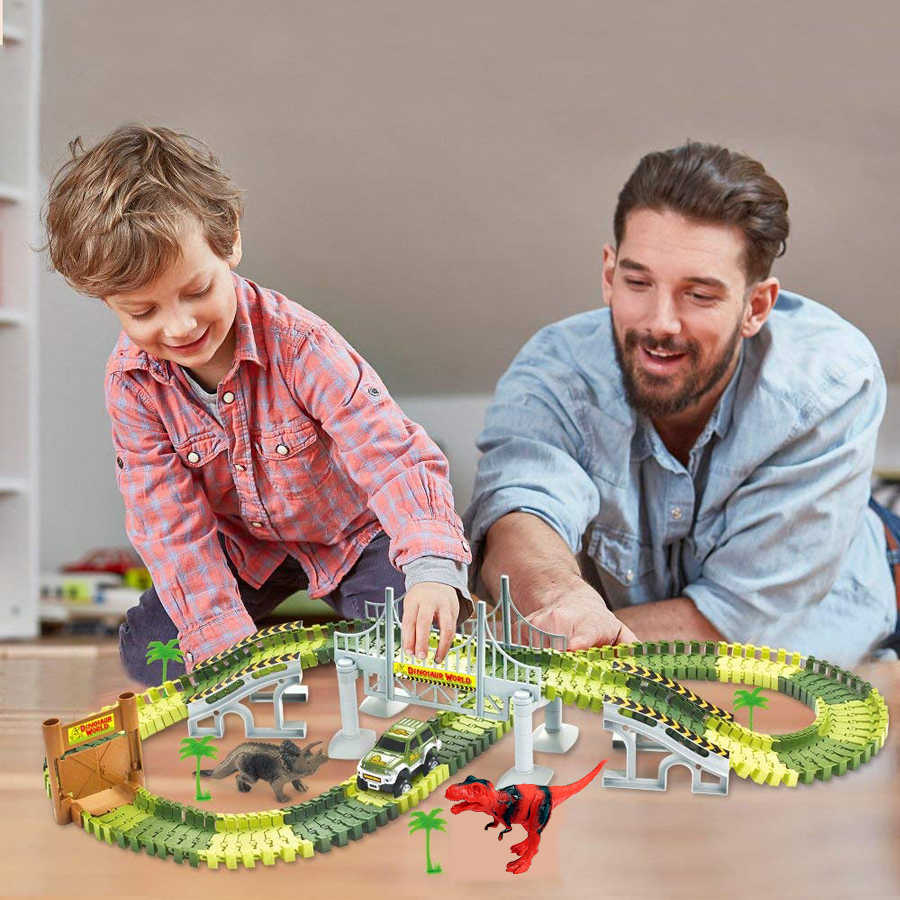 9+ Race Car /& Dinosaur Figures,Gifts for Kids Boys and Girls Ages 3 6 5 8 cjc Dinosaur Train Toy,Dinosaur Race Car Track Toy,DIY Flexible Road Race Playset with 360/° Loop 7 4