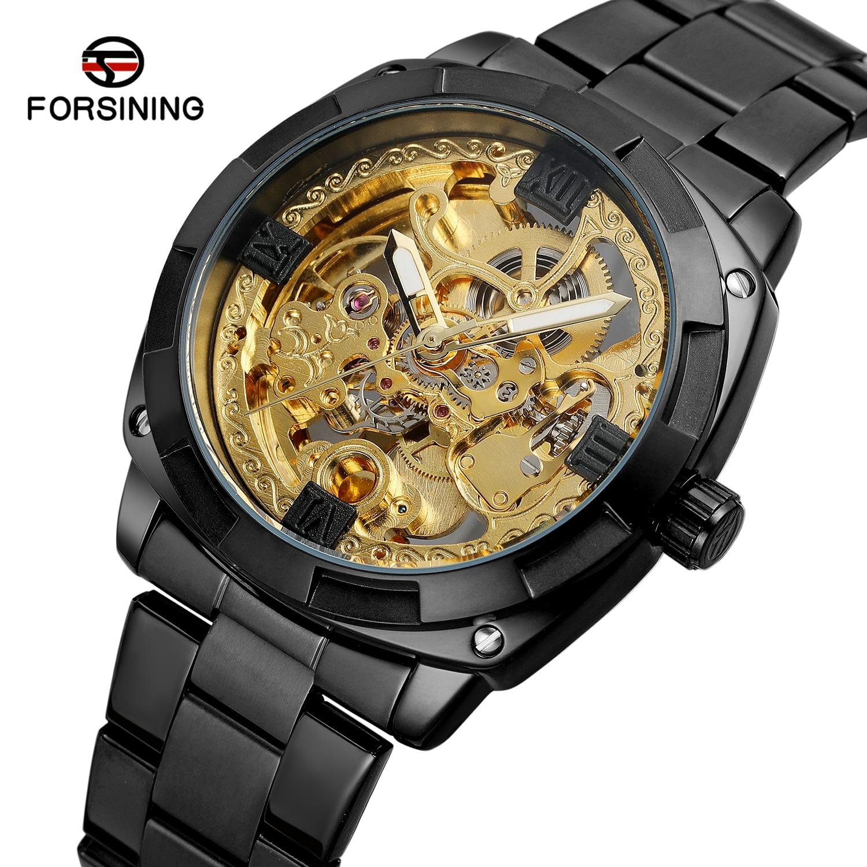 Saatler'ten Mekanik Saatler'de Forsining Üst Marka Retro Klasik Kraliyet Tasarım Altın İskelet Lüks Siyah Çelik Şeffaf Erkek Otomatik mekanik saatler