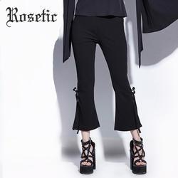 Rosetic Готический стиль женские с высокой талией до щиколотки черные расклешенные брюки с лентой бандаж бант элегантные узкие брюки