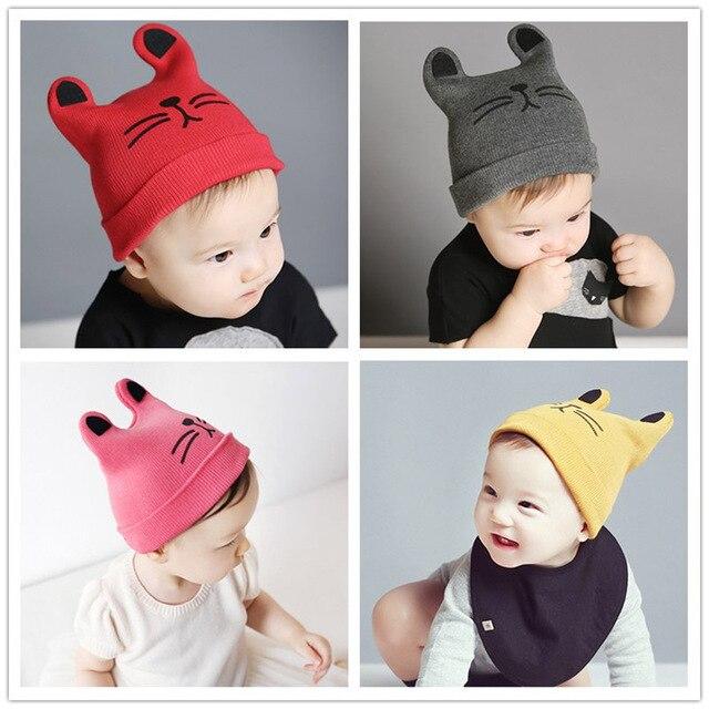 Gato encantador hecho punto bebé sombrero barba con orejas Otoño ...