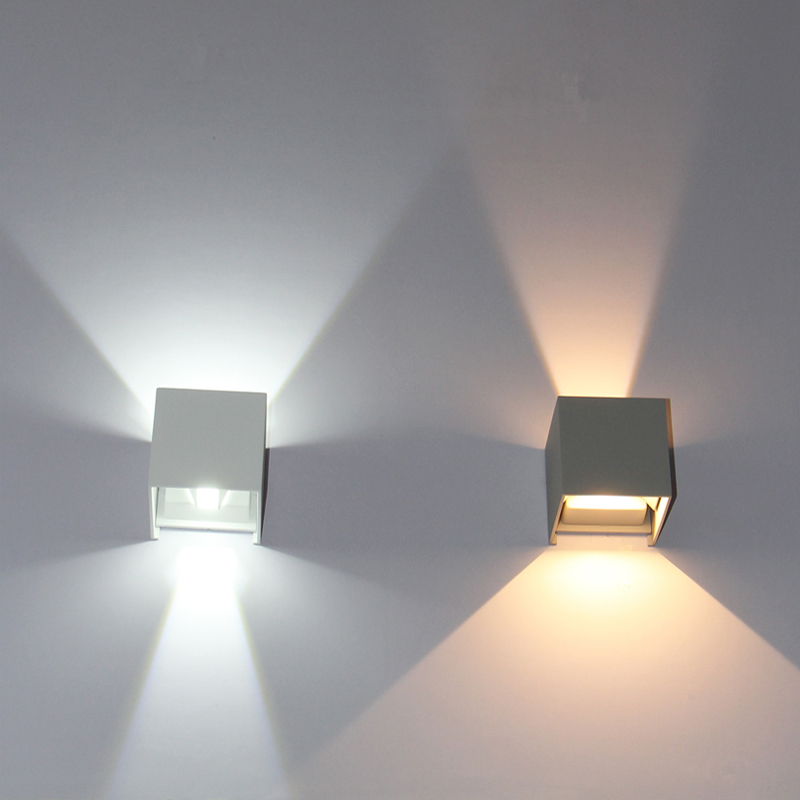 iluminacao exterior conduzida cubo impermeavel ajustavel ip65 conduziu a luz de parede para cima e para