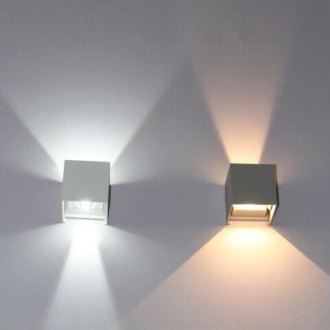 iluminacao exterior conduzida cubo impermeavel ajustavel ip65 conduziu a luz de parede para cima e