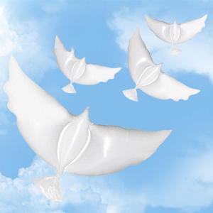 2pcs 104*54cm biodegradable Wedding Party decoration white dove balloon orbs peace bird balloon pigeons marriage helium balloon(China)