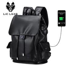 LIELANG Backpack Men Top Quality Leather Backpacks Double Shoulder Bags Japan and Korean Style School Bag USB Charge Waterproof