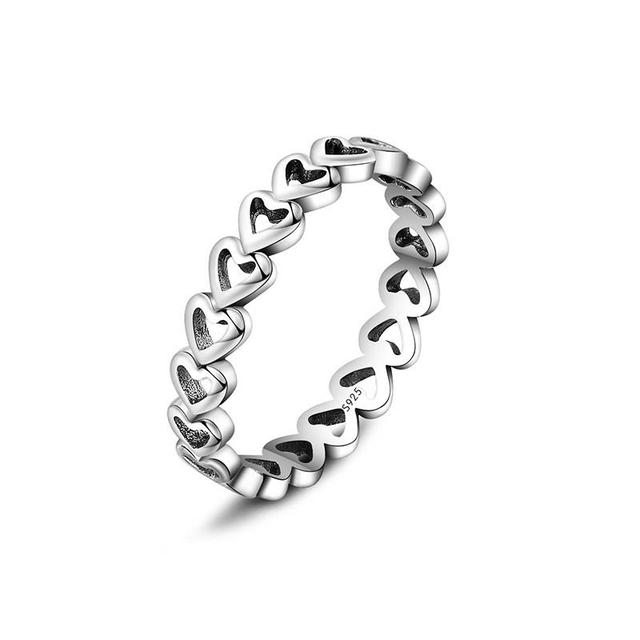 Silver Charms Ring Heart To Heart Hollow Out Style Diy Wedding Rings For Women J