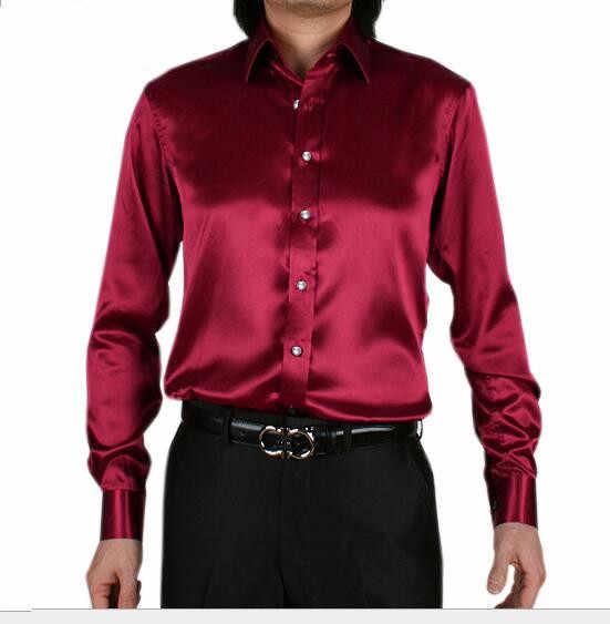 Wiosna jesień w nowym stylu mężczyzna z długim rękawem rozrywka jedwabna koszula koreański mężczyźni kultywowanie własnej moralności koszula plus rozmiar mężczyzn Tuxedo koszule