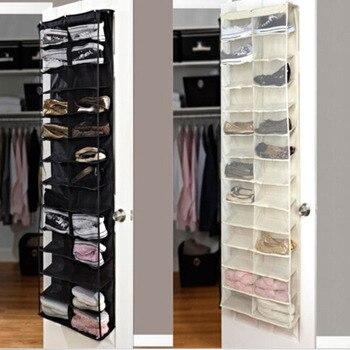 Household Useful 26 Pocket Shoe Rack Storage Organizer Holder Folding Door Closet Hanging Space Saver with 3 Color 3