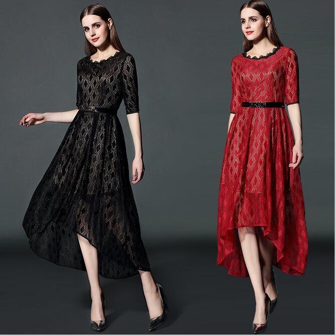 Women Dress 2016 New Fashion Maxi Dress High-End Boutique Lace Dress Simple Giant Swing Plus Size Women Clothing Summer Dress