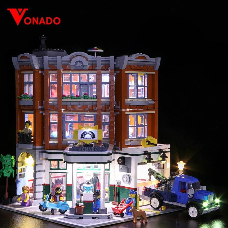 Lego2019에 대 한 led 빛 새로운 거리 시리즈 10264 거리 코너 자동차 수리 역 빌딩 블록 조립 된 장난감 (조명 만)-에서블록부터 완구 & 취미 의  그룹 1
