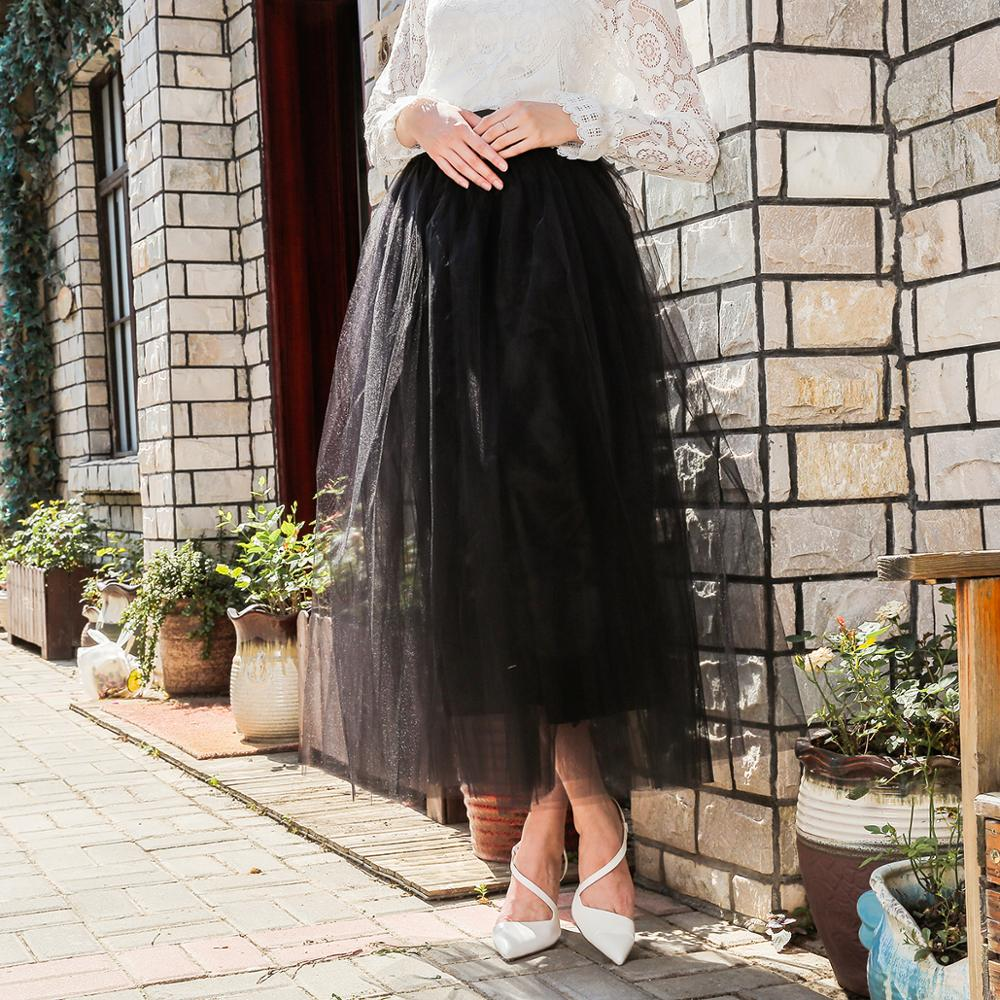 Elegant Women Long Soft Tutu Skirts Vadim Floor Length Tulle Skirt Elasic Jupe Longue Saias Wedding Party Ruffle Punk Skirt