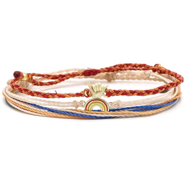 Handmade Hand Ten Over The Rainbow Braided Wax Bracelet