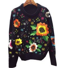 Autumn Spring France USA Popular Colorful Flower Embroidery  Knitted Tops Tees Streewear Rabbit  Vintage Sweater Tops Female