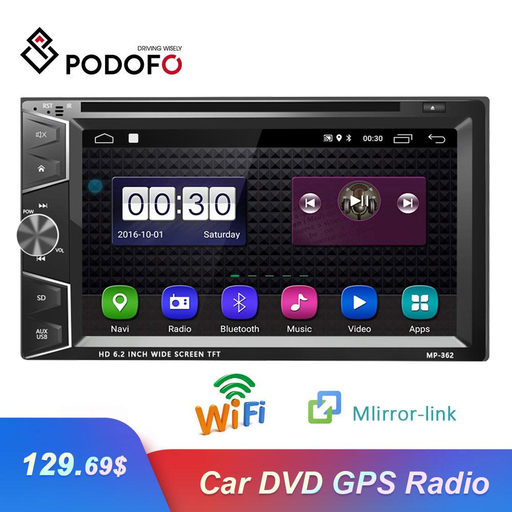 Podofo lecteur multimédia voiture 2 Din DVD voiture GPS Bluetooth Radio stéréo lecteur écran tactile USB AVX vue arrière caméra Autoradio
