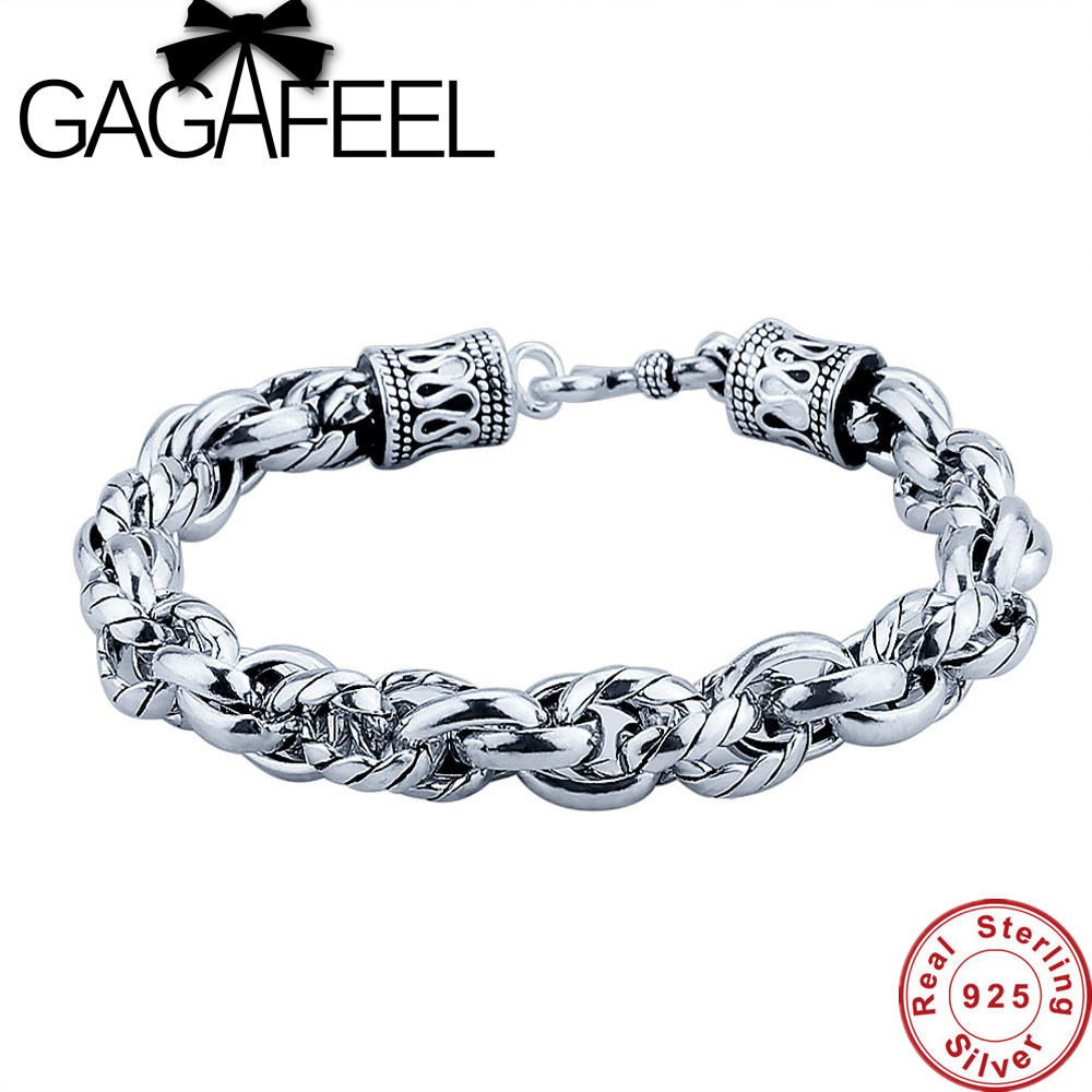 GAGAFEEL Genuine Sterling Silver Jewelry Men bracelet 100% Real Pure 925 Thai Silver Men Punk Chain 16-22CM S Clasp For Friends 925 bracelet silver sterling men vintage punk rock wire chain chain and bracelet thai silver jewelry charm men s bracelets 2018