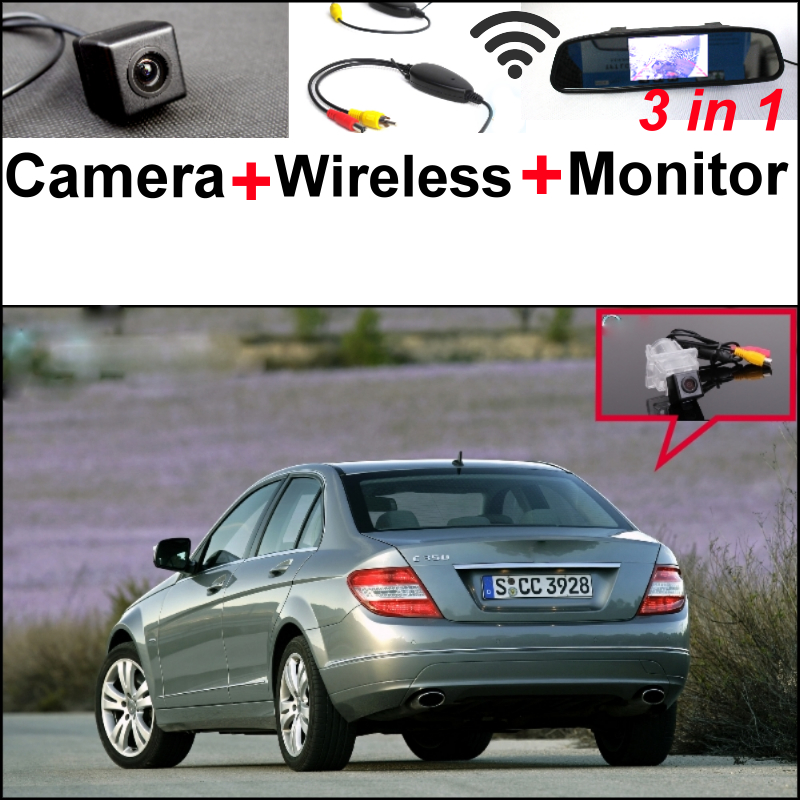 3in1 Special WiFi Camera + Wireless Receiver + Mirror Monitor Rear View Parking Back Up System For Mercedes Benz C Class W204 for ford escape maverick mariner car parking sensors rear view back up camera 2 in 1 visual alarm parking system