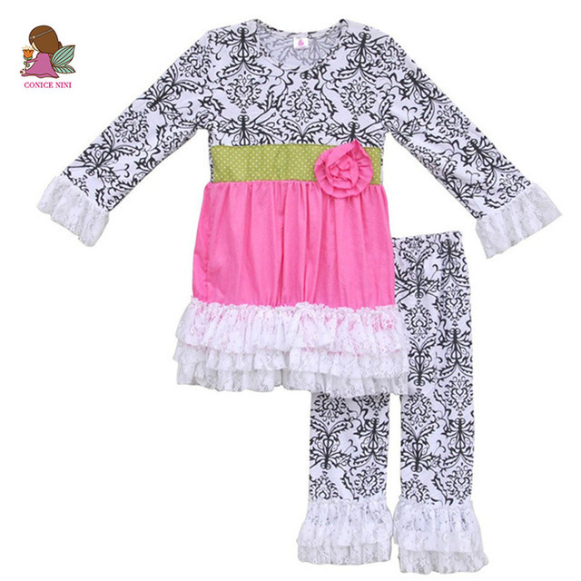 441fc18fe Girl Spring Clothes Party Dresses Vintage Print Lace Ruffle Legging Flower  Tunic Kids Boutique Outfit Children Clothing Set F020