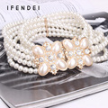 IFENDEI Women Belts Female Pearl Decorated Dress Wild Flowers Beaded Chain Belt Diamond Elastic Wide Stretch Girdle White Cintos