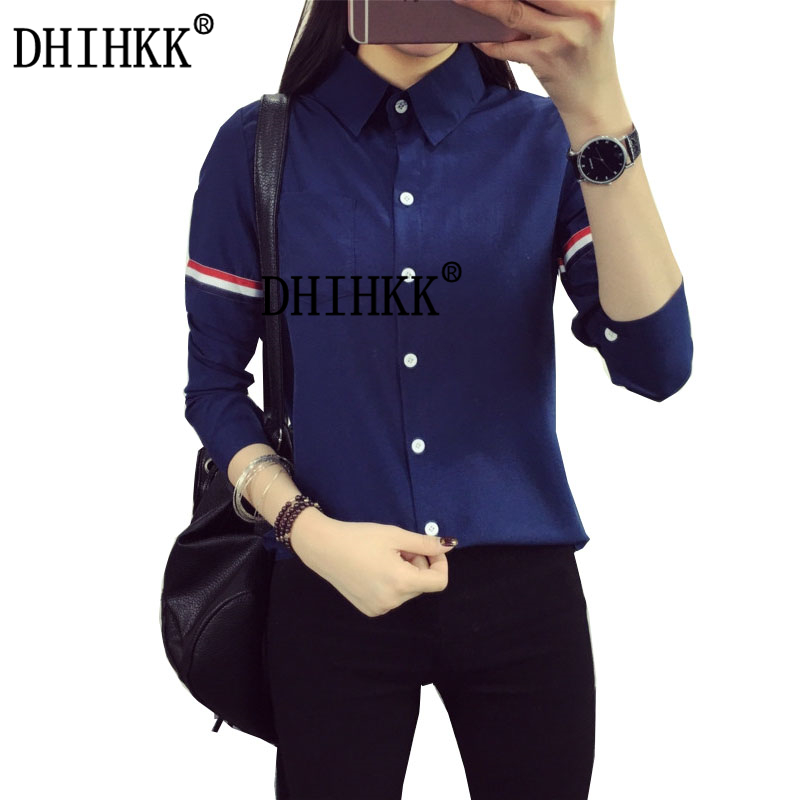 DHIHKK Official Store 2016 New  Women Blouses Shirts Long Sleeve Femal Shirts Sleeve With Colour Stripes Cotton Casual Shirt Women Tops