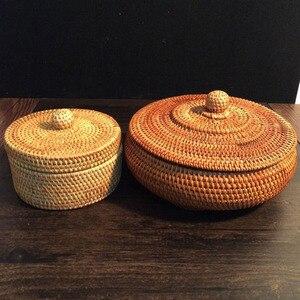 Image 2 - 스토리지 바구니 손으로 짠 등나무 커버 라운드 기본 색상 중국어 쥬얼리 스낵 차 세트 스토리지 박스 가정 용품