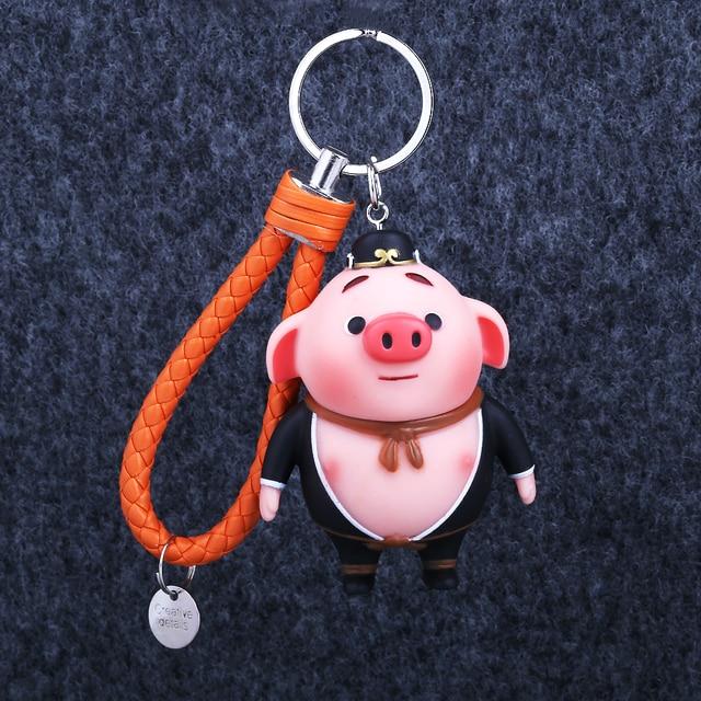 Moda Criativa Filme Anime Porcos Dos Desenhos Animados Chaveiros Pingentes de Jóias Boneca De Borracha Tendência Animale Chave Do Carro Anéis Chaveiros Telefone