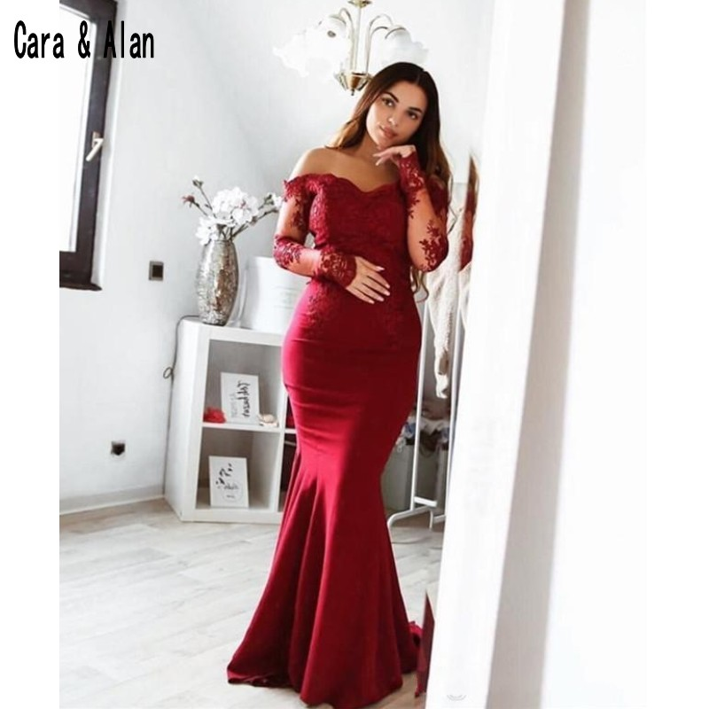 766b6798de74 2019 Long Sleeves Red Prom Dresses Mermaid Satin Off Shoulder Formal  Evening Gowns Special Occasion Dress vestidos de gala