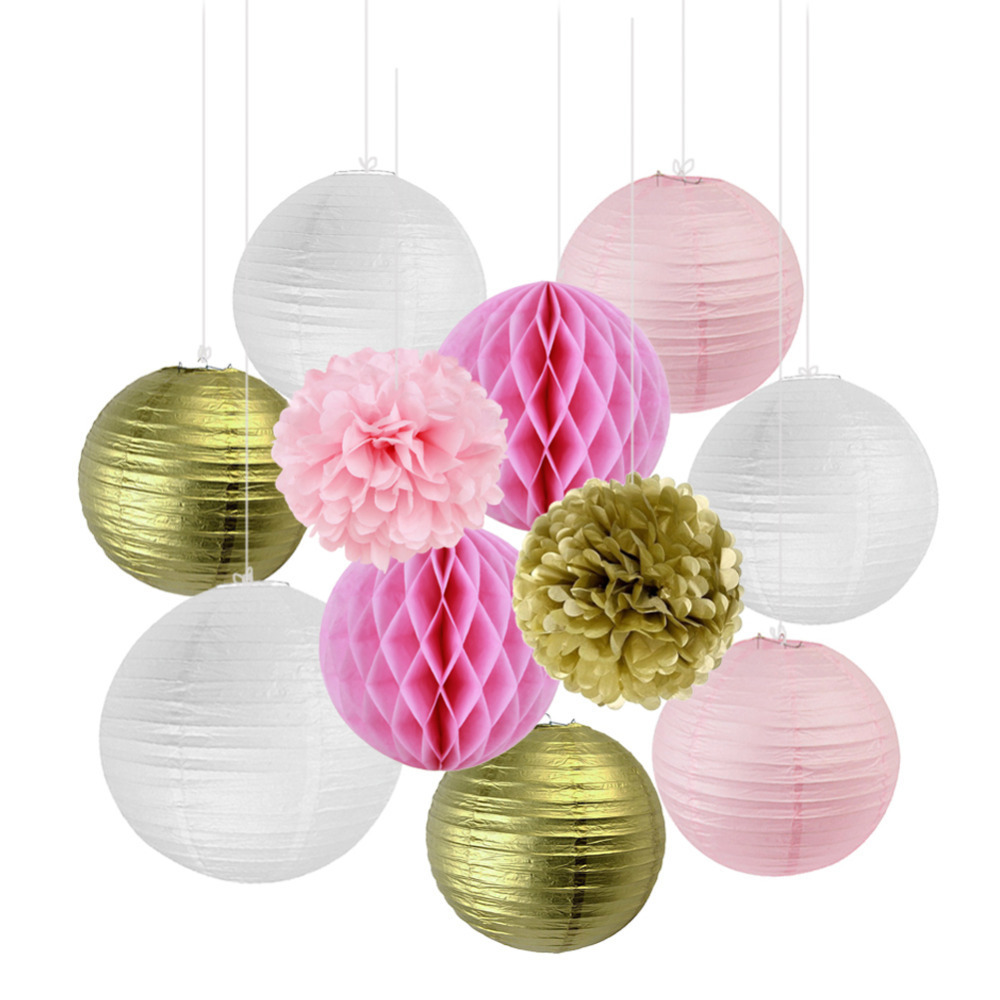 Gold And Pink Wedding Decorations Birthday Party Supplies 11pcs/set With Honeycomb Balls/Paper Lanterns/Tissue Paper Pom Pom
