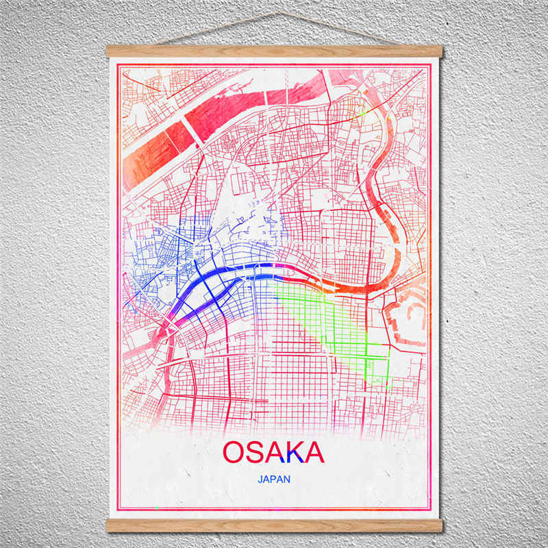 Customized Pattern Hot sale OSAKA Modern City poster Abstract With Frame  World map print picture canvas oil painting Cafe Decor