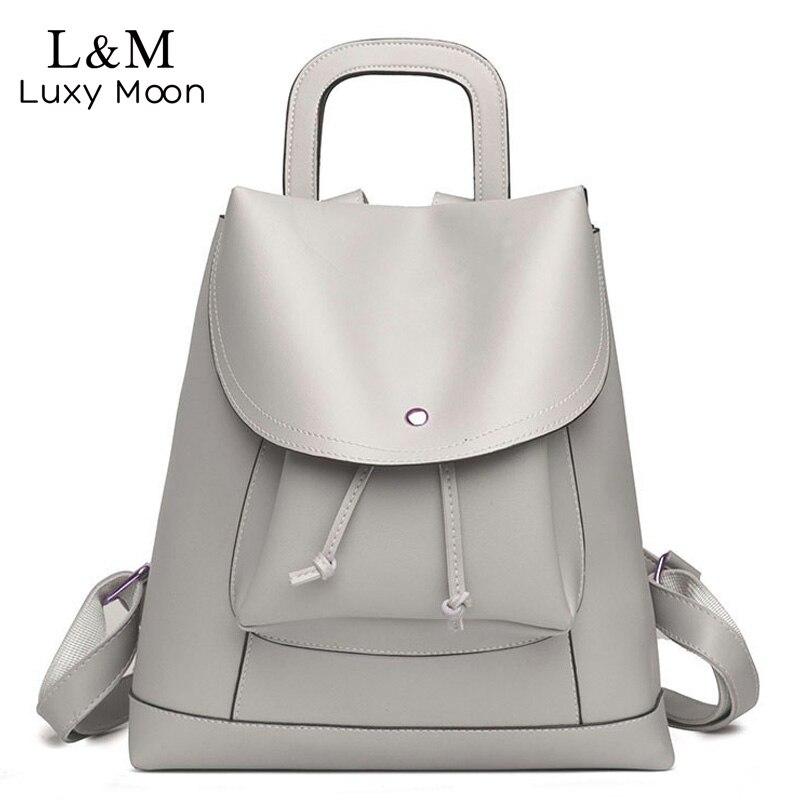 LUXY MOON Women Backpack 2017 Fashion Leather String Backpacks Teenage Girl School Bag Rucksack Solid Large