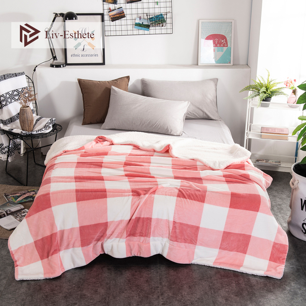 Liv-Esthete 2019 Hot Sale Thick Sherpa Throw Grid Blanket Weighted Fleece Queen King Adult Summer For Bed Or Couch 1PCS