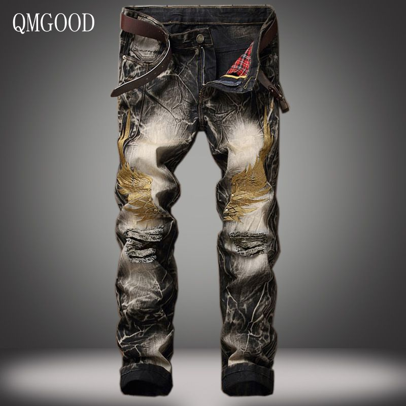 QMGOOD Men Jeans Pants 2017 Spring and Summer New European and American Personality Slim Retro Embroidery Holes Denim Trousers aliexpress 2016 summer new european and american youth popular hot sale men slim casual denim shorts cheap wholesale