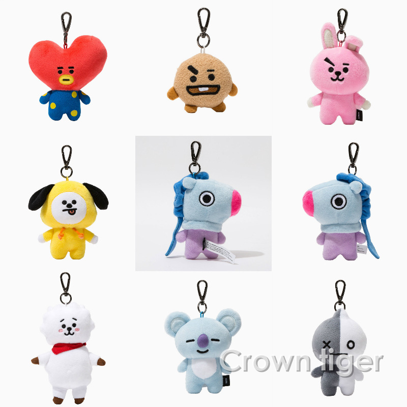 cute cartoon BTS BT21 Plush bag Pendants Dolls Tata Van Cooky Chimmy Shooky Koya MANG Peluche BT21 keychain keyring stuffed Toys funny emoji cartoon face plush toys keychain pendant cute soft stuffed qq mini dolls round smile keyring gift