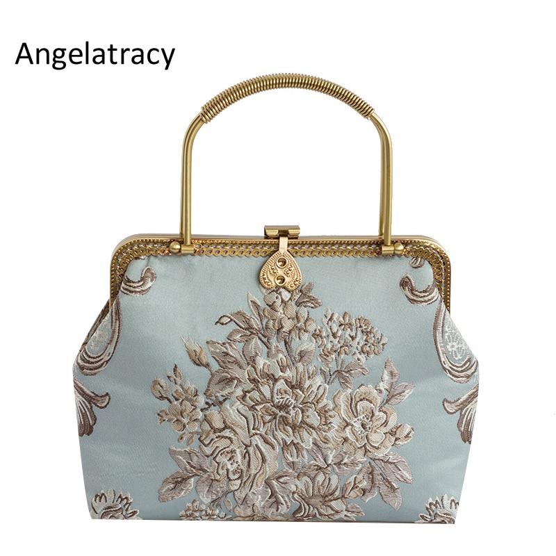Angelatracy 2018 New Jacquard Luxury Handbags Women Bags Designer Retro Women Messenger Bags Hand Bag Lady