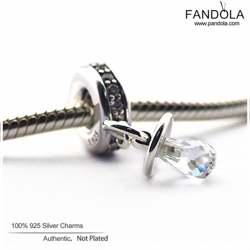 Promotion 925 Sterling Silver Clear CZ Pacifier Dangle Perles pour la - Bijoux - Photo 2
