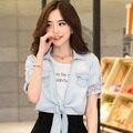 Новый 2015 Летняя Мода женская Короткие Джинсовые Блузка И Пиджаки Джинсы Все Матч Классические Джинсы Бесплатная Доставка