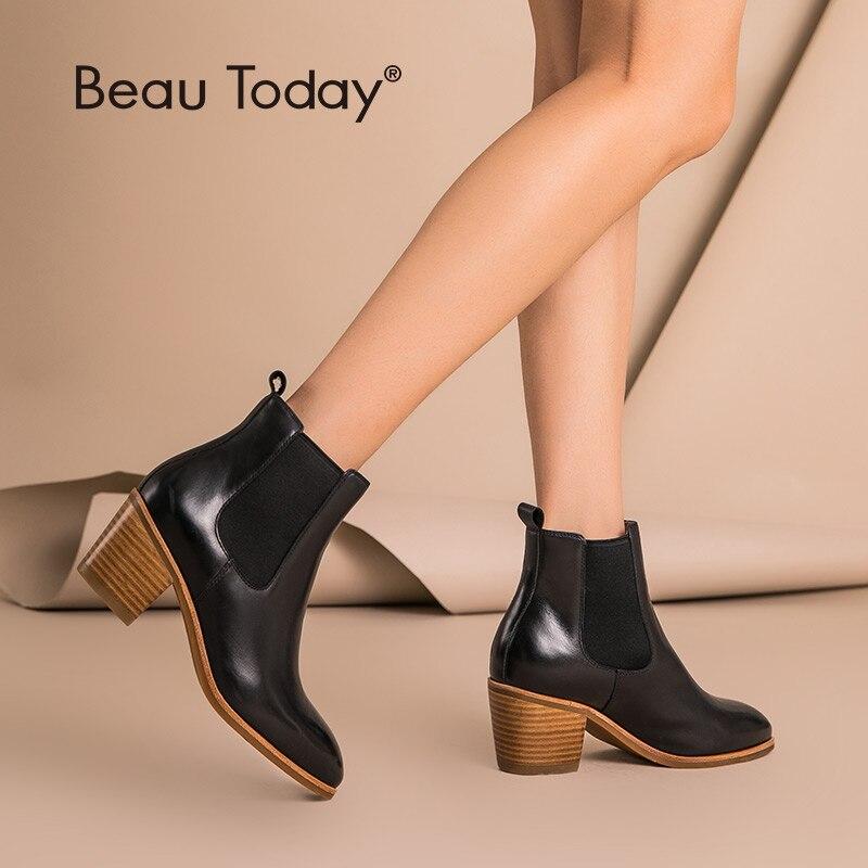 BeauToday mujeres Chelsea botas de cuero genuino encerado de vaca punta puntiaguda banda elástica de tacón alto Otoño Invierno señora botas de tobillo 03335-in Botas hasta el tobillo from zapatos    1