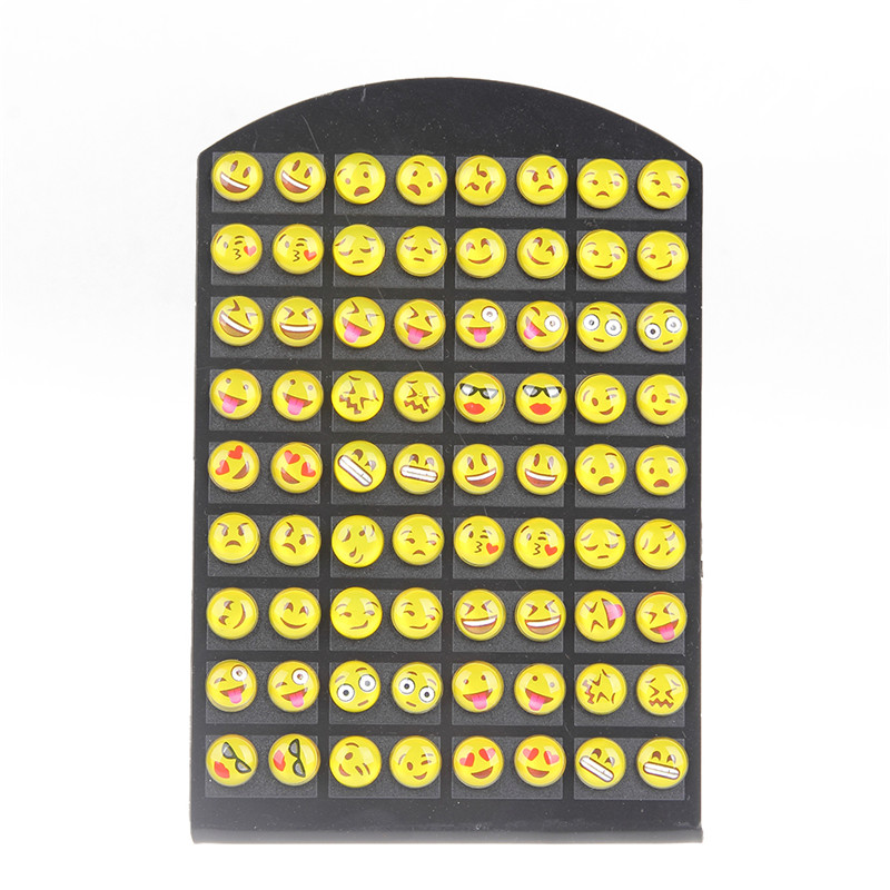 36pairs / set 8MM Round Yellow Resin Cartoon Face Emoji Stud øredobber For Women Girls Office Lady Ear Smykker Wholesale Dropship