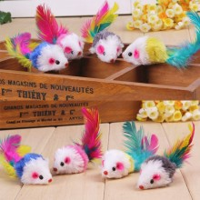 1PC Cat toys False Mouse Pet Toys Mini Funny Playing For Cats with Colorful Feather Plush random color