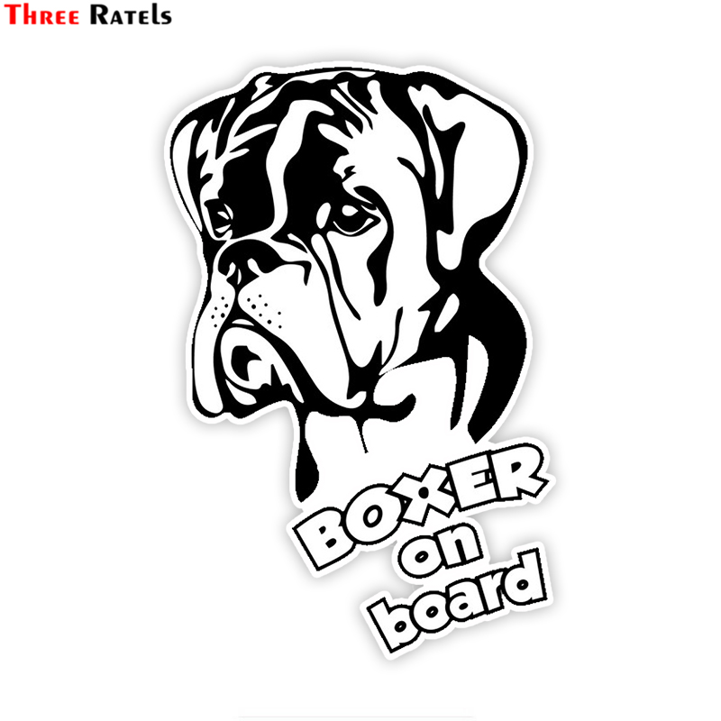Three Ratels LCS055# 11x17cm Dog Boxer On Board Colorful Car Sticker Funny Car Stickers Styling Removable Decal
