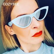 333bd8d95c95e Senhoras Pequeno GATO OLHO Óculos De Sol Das Mulheres Marca de moda óculos  oculos de sol feminino verão Praia Triângulo de prata.