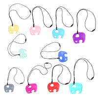 Mix Color Elephant Infant Baby Teething Toy Fashion Necklace Kids Mom DIY Soft Silicone Gel Jewelry