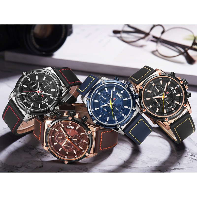 Image 5 - MINIFOCUS Mens Watches Top Brand Luxury Watch Men Waterproof Leather Strap Relogio Masculino reloj hombre Blue erkek kol saati-in Quartz Watches from Watches