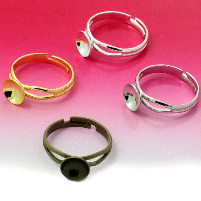 10pcs 8/10mm Ring Settings Cabochon Base Sunken Tray Blank For Cabochon Cameo DIY Fashion Rings Adjustable Ring Base