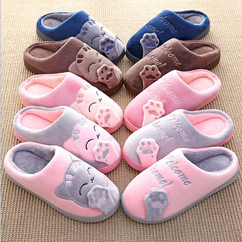 Cat Animal Prints Cute Home Slippers Short Plush Warm Soft Cotton Women Slippers Loves Floor Indoor Shoes Women Large Size 45 5