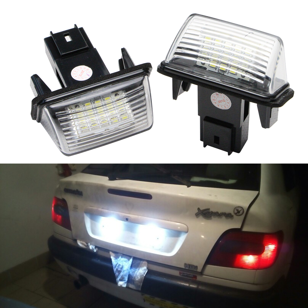 2pcs 12V LED luči za registrske tablice za Peugeot 206 207 306 307 308 406 407 5008 Partner Citroen C3 C3 Ii C3 C4 C5