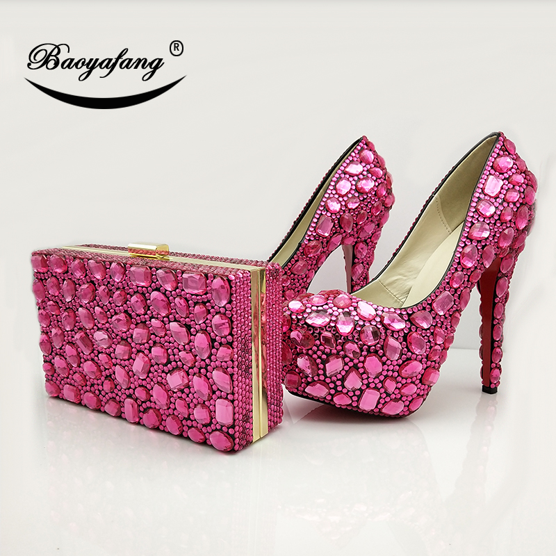 BaoYaFang New Fuschia Crystal Women Wedding shoes Bride High heel platform shoes with matching bags Bridal Party shoes and bags