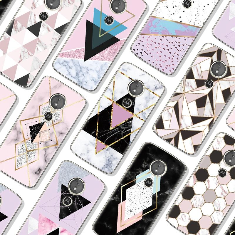 Fashion Geometric Marble Shell For Motorola Moto One G7 Power G6 E4 E5 G4 G5 G5S Plus G4 G6 Z Z2 Z3 E5 G7 Play Go C G3 Soft Case