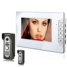 Two Waterproof Camera with 7 Inch Color TFT LCD Video Door Phone Intercom System colorful monitor