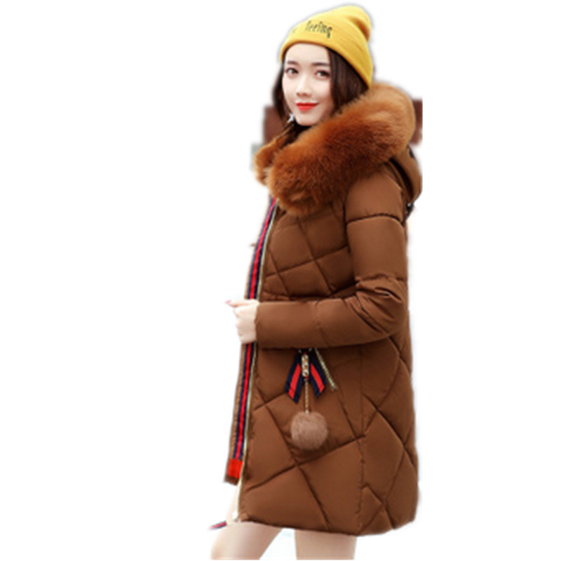 2017 New Warm Fur Fashion Hooded Quilted Coat Winter font b Jacket b font Woman Solid