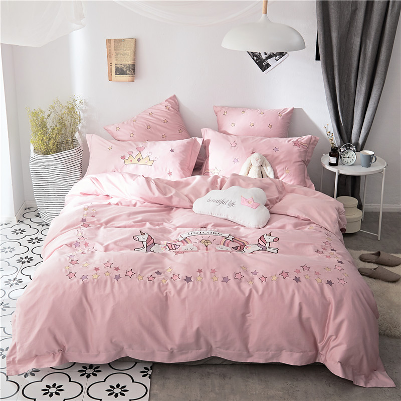 New 60s Egyptian Cotton Pink Unicorn Bedding Set Queen