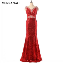 VENSANAC V Neck Sequin Long Mermaid Evening Dresses 2018 Eleagant Crystals Tank Backless Lace Party Prom Gowns